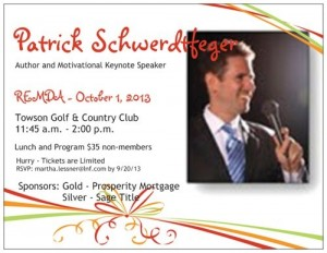 Renowned motivational speaker and author Patrick Schwerdtfeger @ Towson Golf & Country Club | Phoenix | Maryland | United States